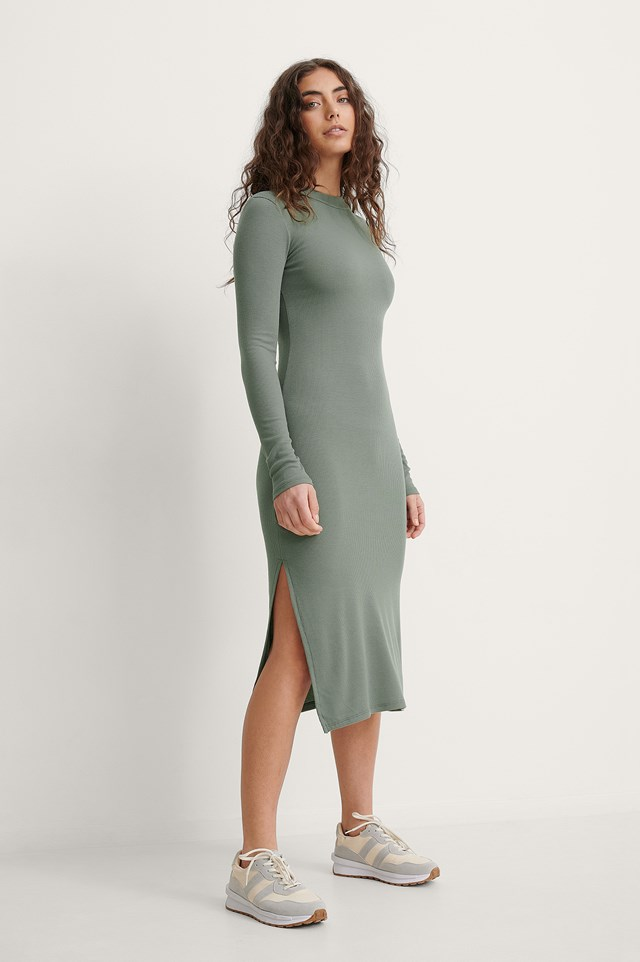 High Neck Slit Dress Outfit.