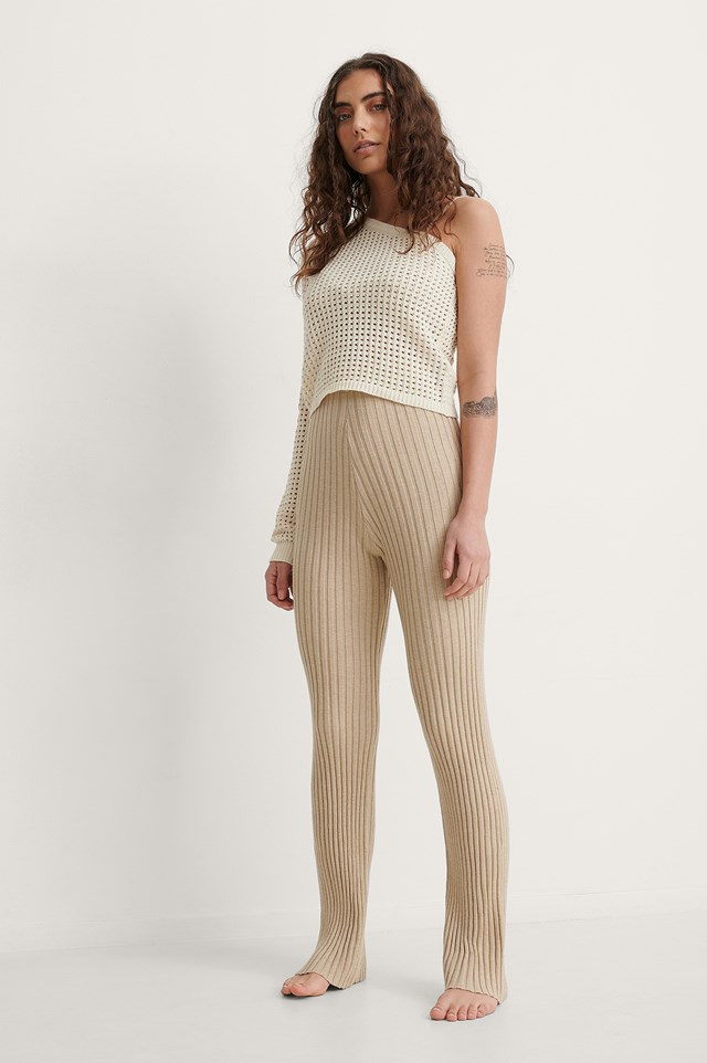One Shoulder Hole Knitted Sweater Outfit.