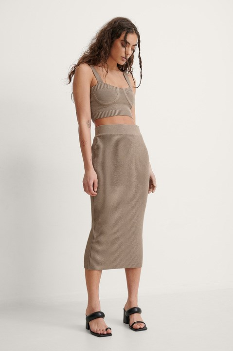Rib Knitted Slit Skirt Outfit.