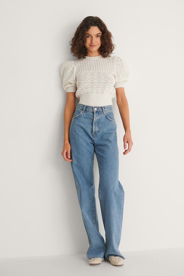 Structured Puff Sleeve Knitted Top