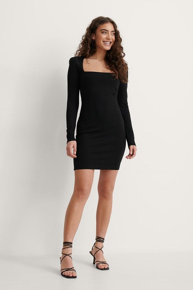 Black Padded Shoulder Jersey Dress
