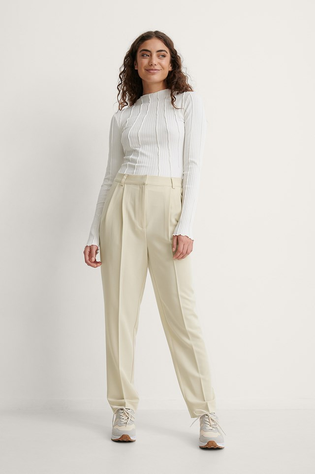 Melissa Tapered Suit Pants Outfit.