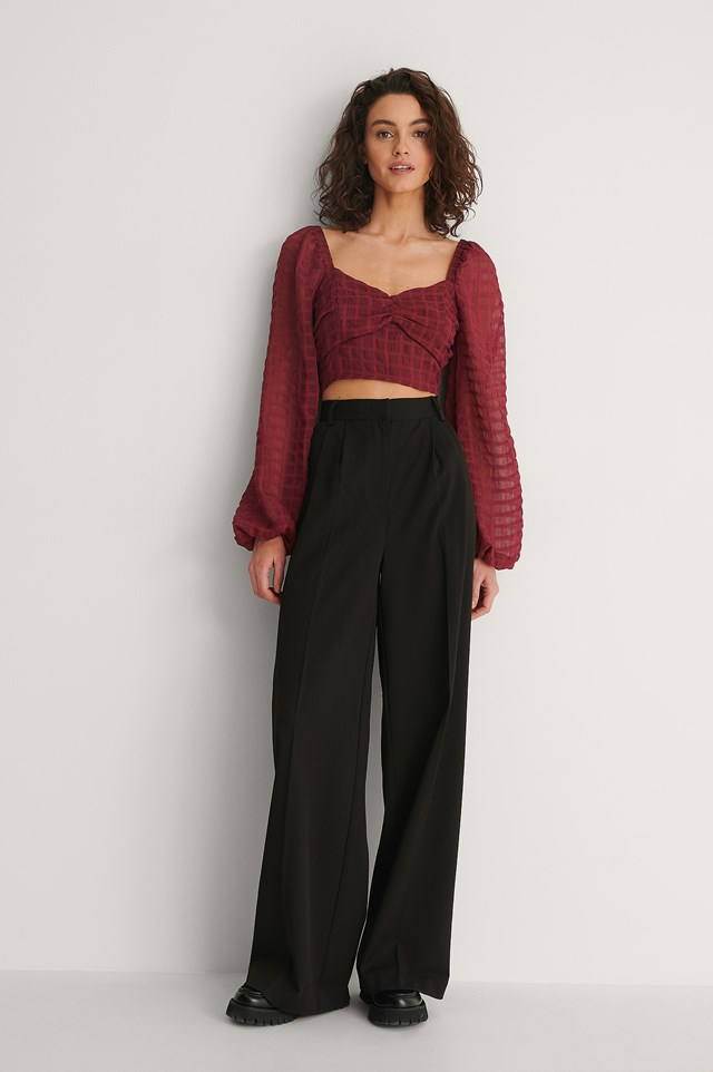 Structured Crop Blouse Outfit.