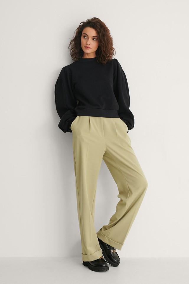 Black Puff Sleeve Sweatshirt