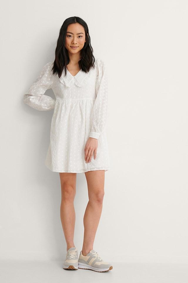 LS V-Neck Anglaise Dress