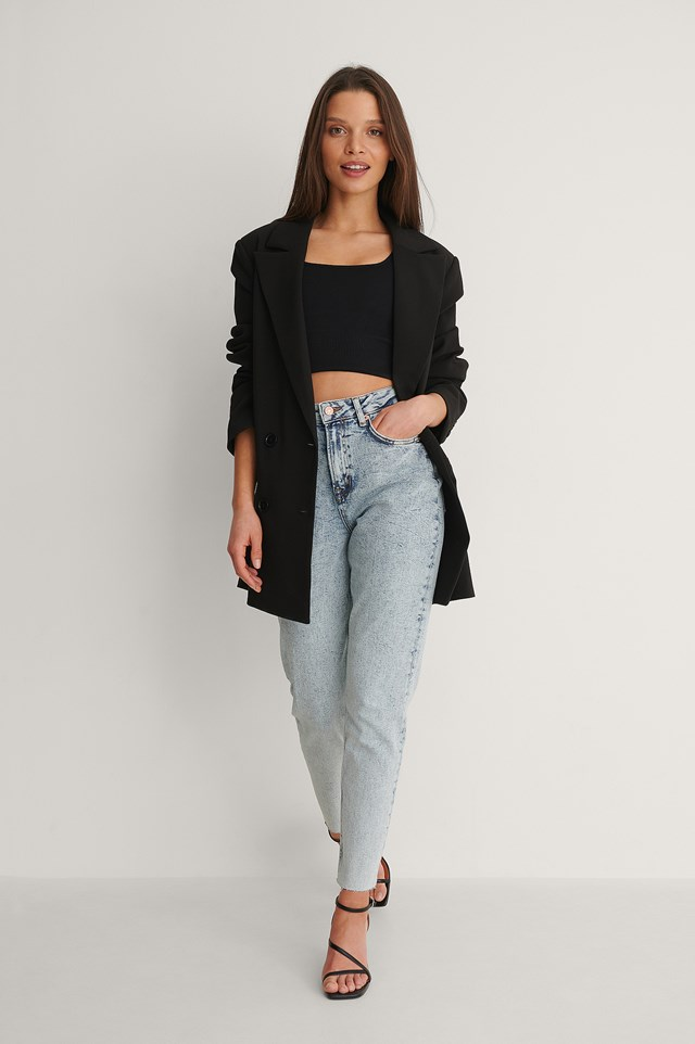 Raw Hem Mom Jeans