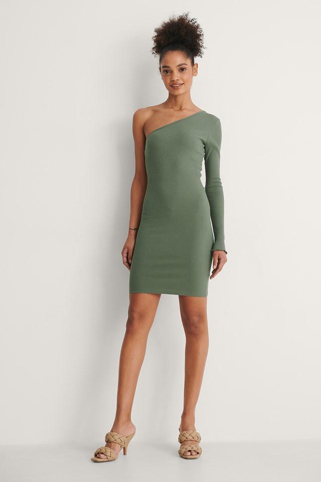 Khaki Organic One Shoulder Babylock Detail Dress