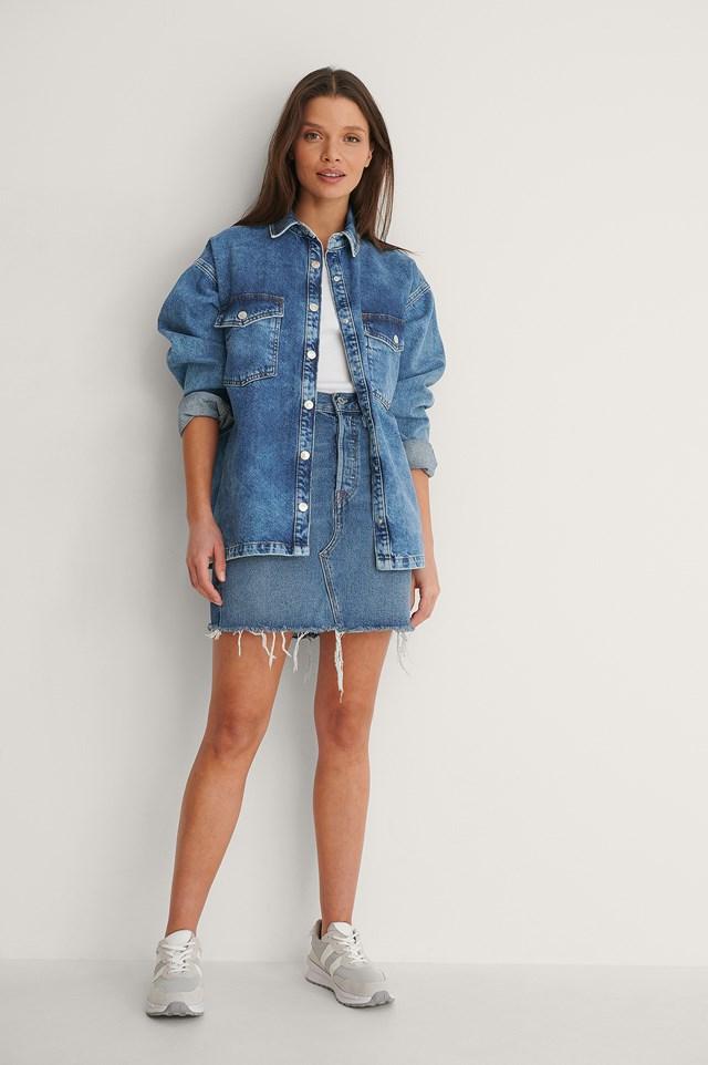 Blue Stone Wash Padded Shoulder Denim Jacket