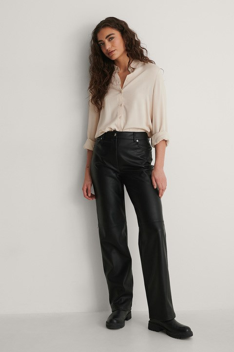 Black PU High Rise Cropped Pants
