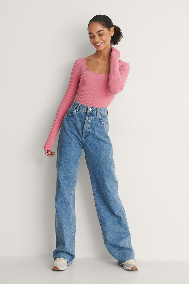 Pink Recycled Scoop Neck Rib Top