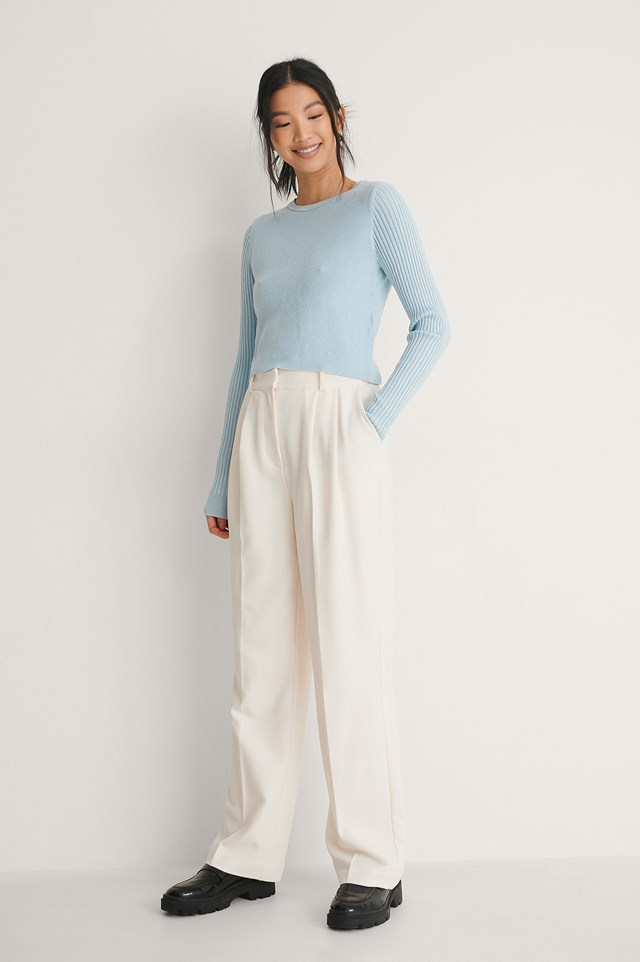 Light Blue Knot Detail Knitted Sweater