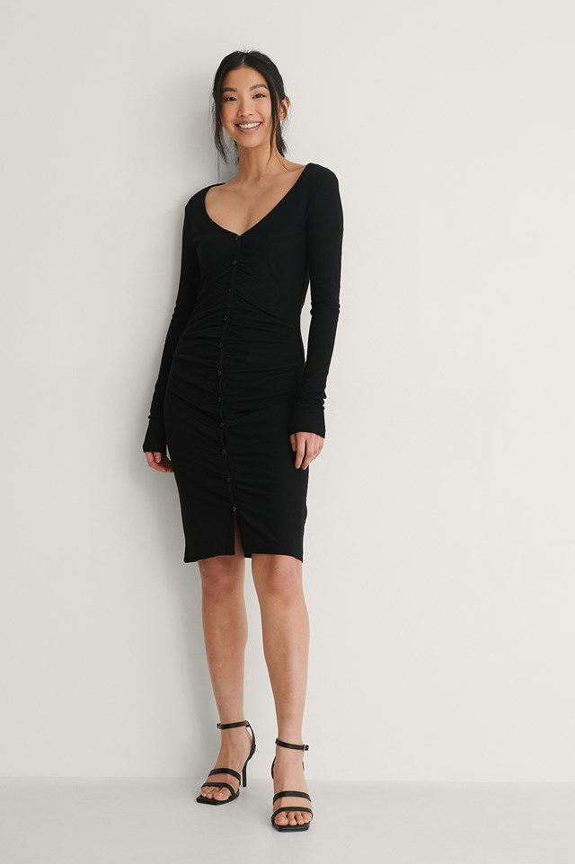 Black Rouched Ribbed Button Dress