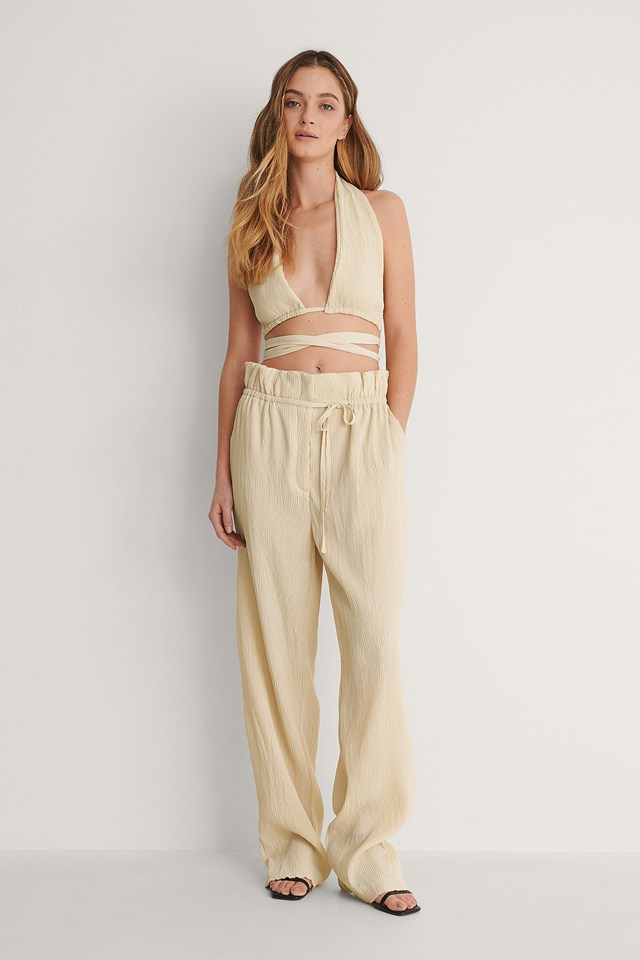 Off White Crinkled Wrap Top