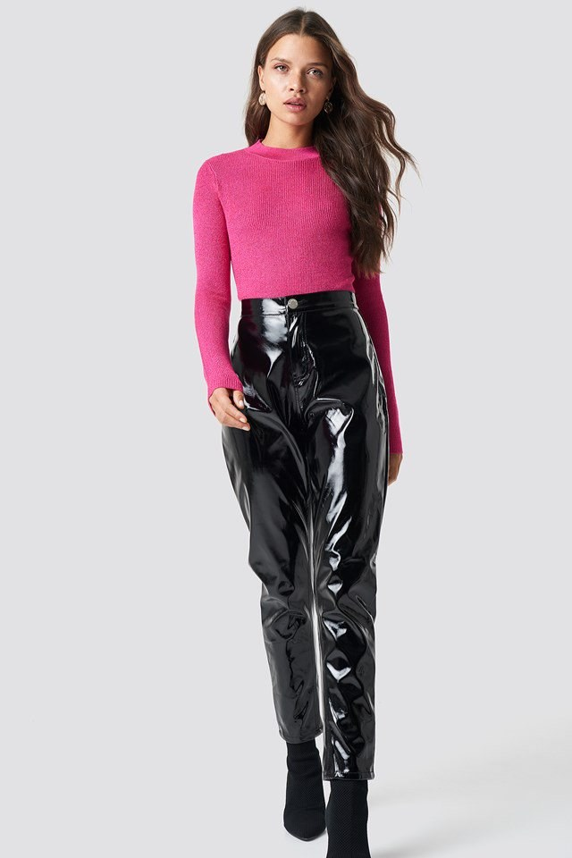 Glittery Jumper X Leather Pant Outfit