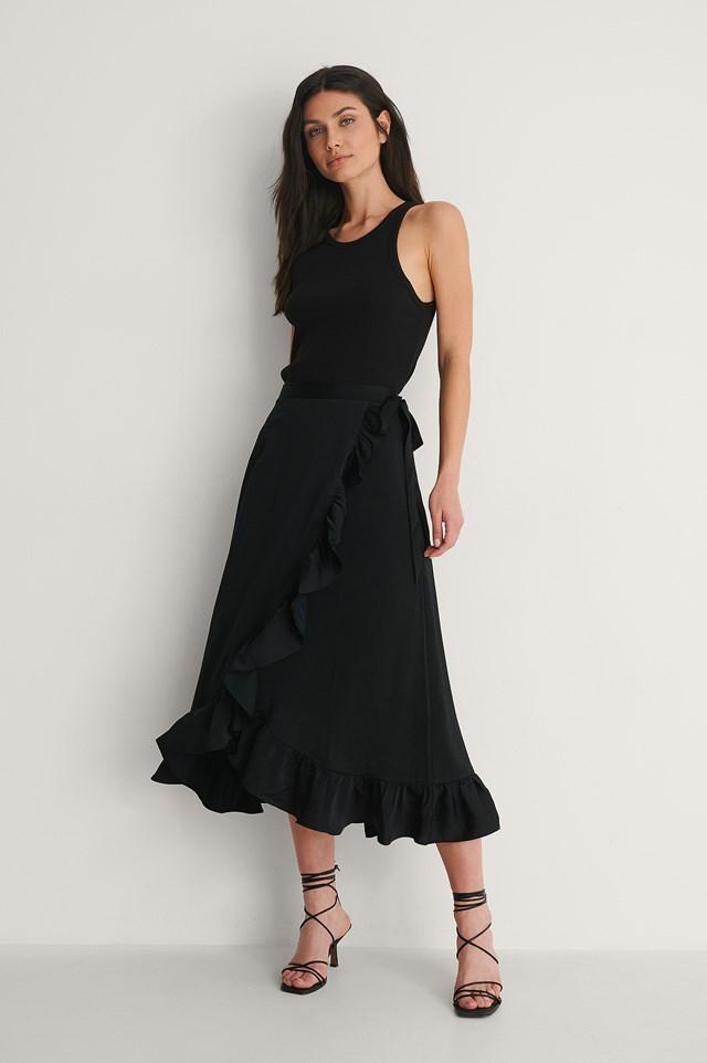 Black Frill Overlap Skirt