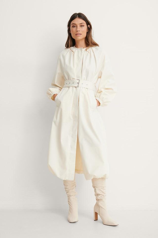 Offwhite Belted Voluminous Coat
