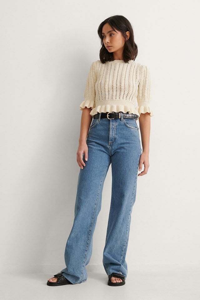 Cropped Pattern Knitted Sweater
