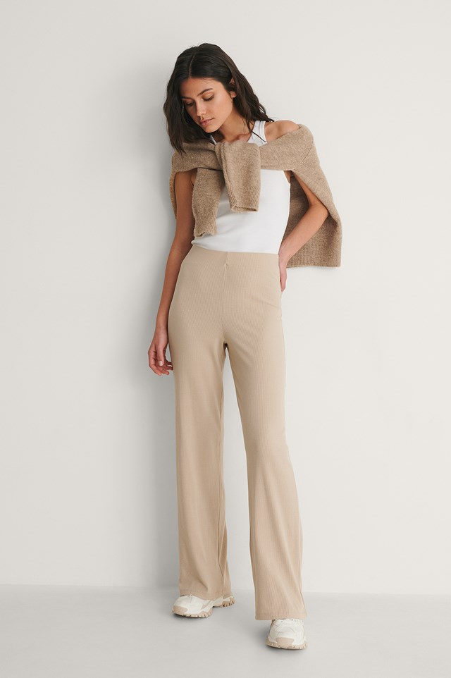 Recycled Ribbed Wide Pants Outfit.