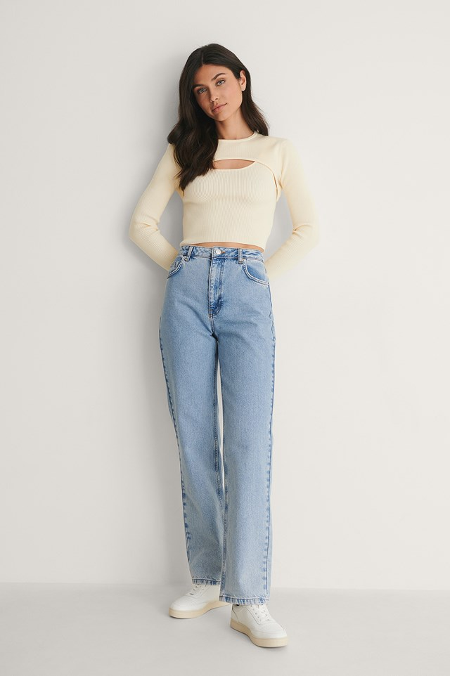 Contrast Pocket High Waist Denim Outfit