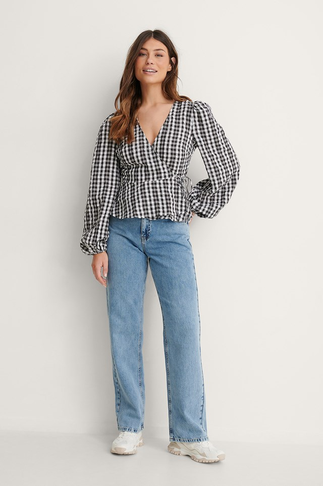 Checked Overlapped Blouse Outfit