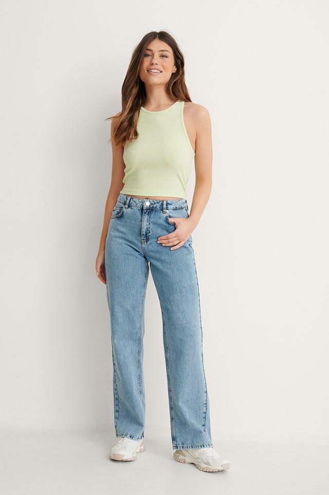 Blue Straight Fit Raw Hem Jeans