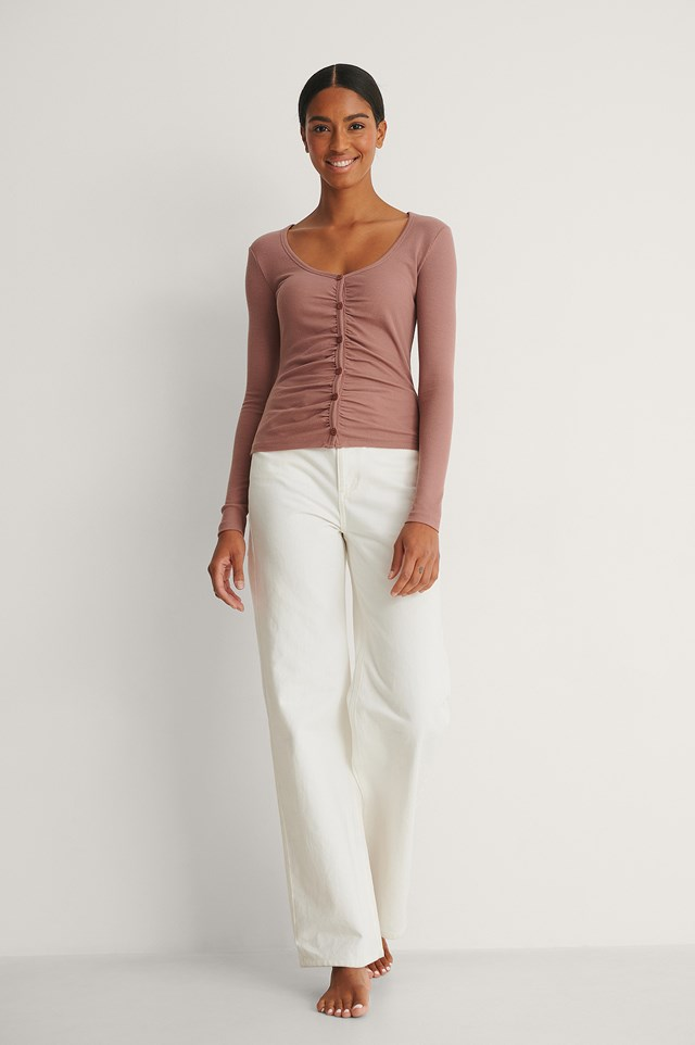 NA-KD Rouched Ribbed Button Top Outfit