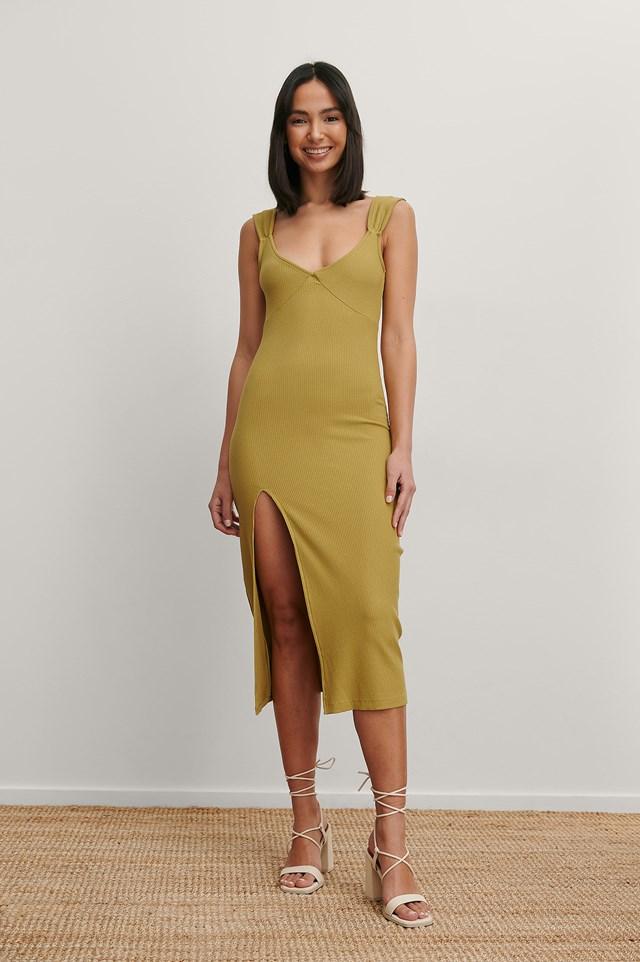 Olive Green V-Shaped Front Midi Dress