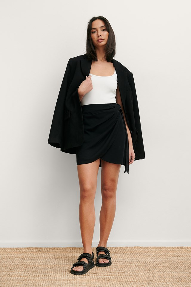 Black Overlap Side Knot Mini Skirt