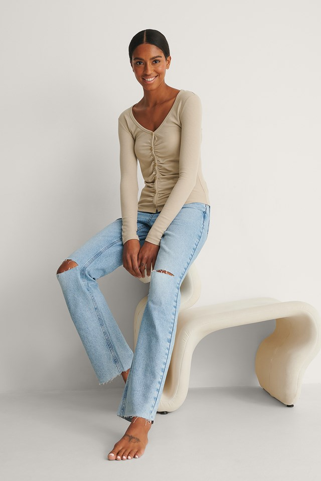 Rouched Ribbed Button Top Outfit