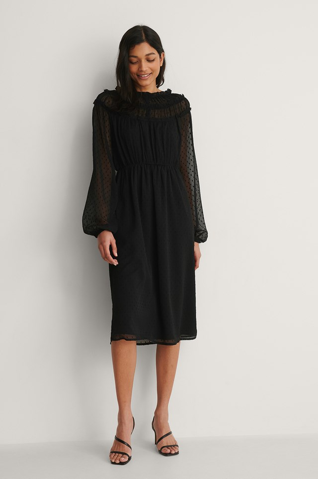 NA-KD Long Sleeve Frill Dobby Dress Outfit
