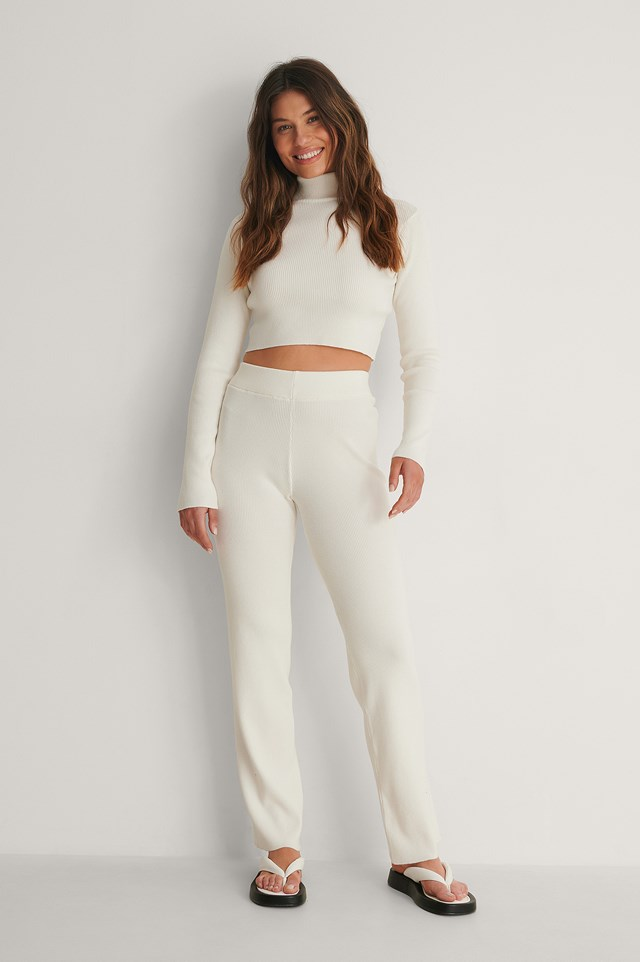 Offwhite Knitted Ribbed High Neck Top