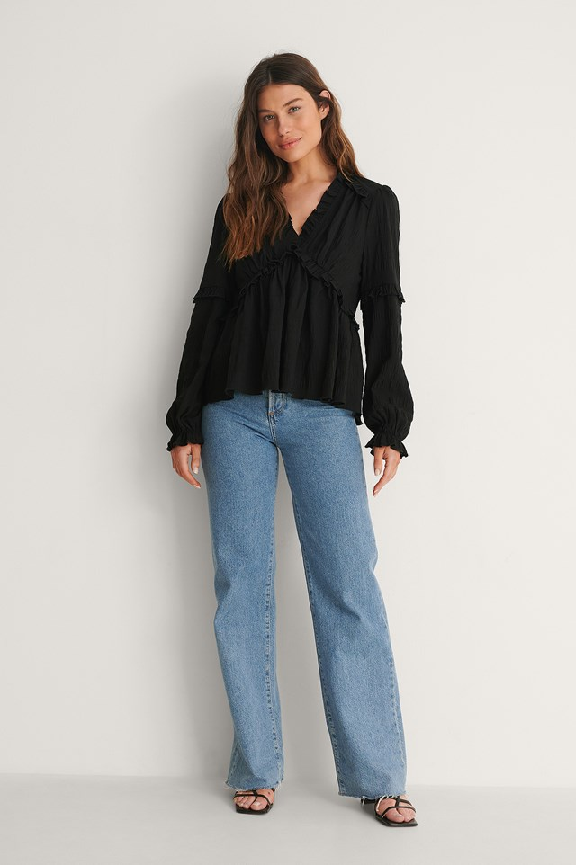 Black Recycled Structured LS Frill Blouse