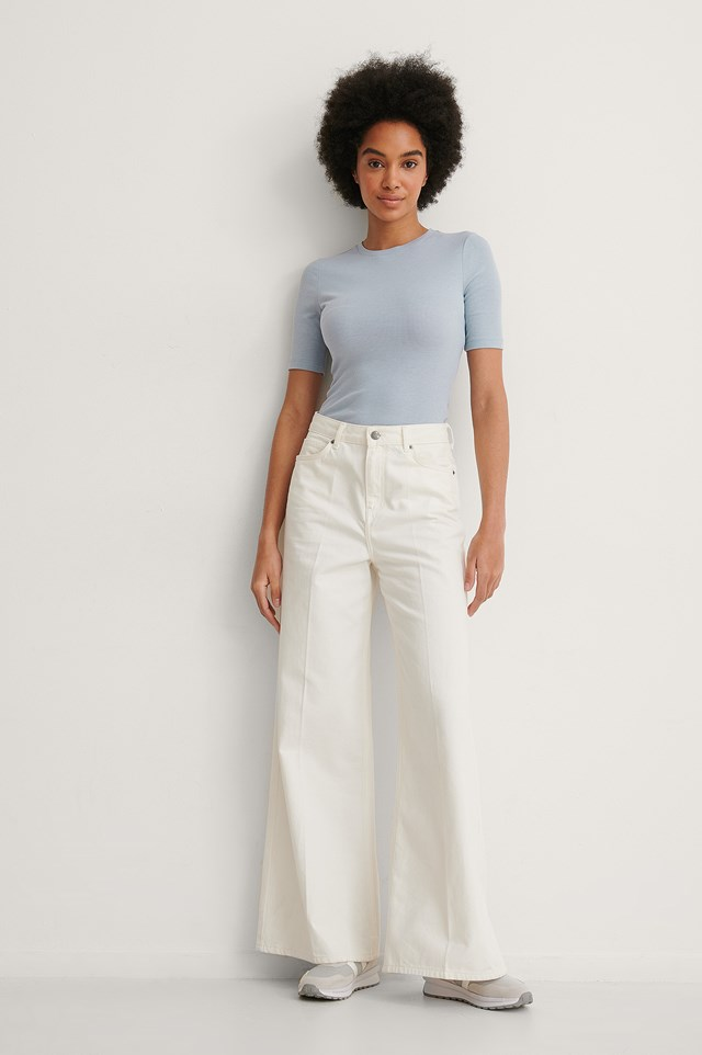 Round Neck Ribbed Top Outfit