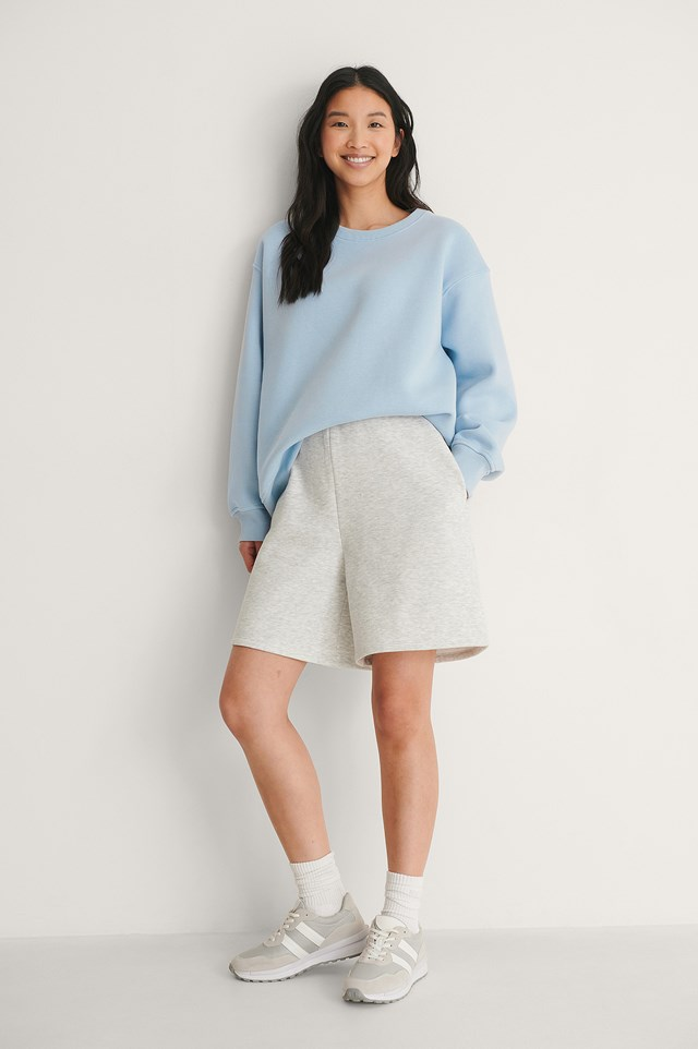 Dusty Blue Organic Boxy Brushed Sweatshirt