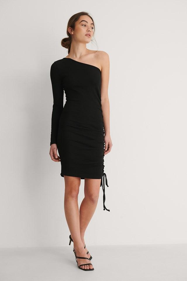 Black One Sleeve Drawstring Dress