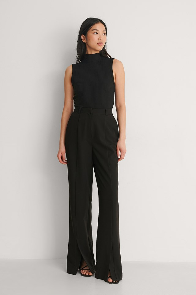 Black Front Slit Pants