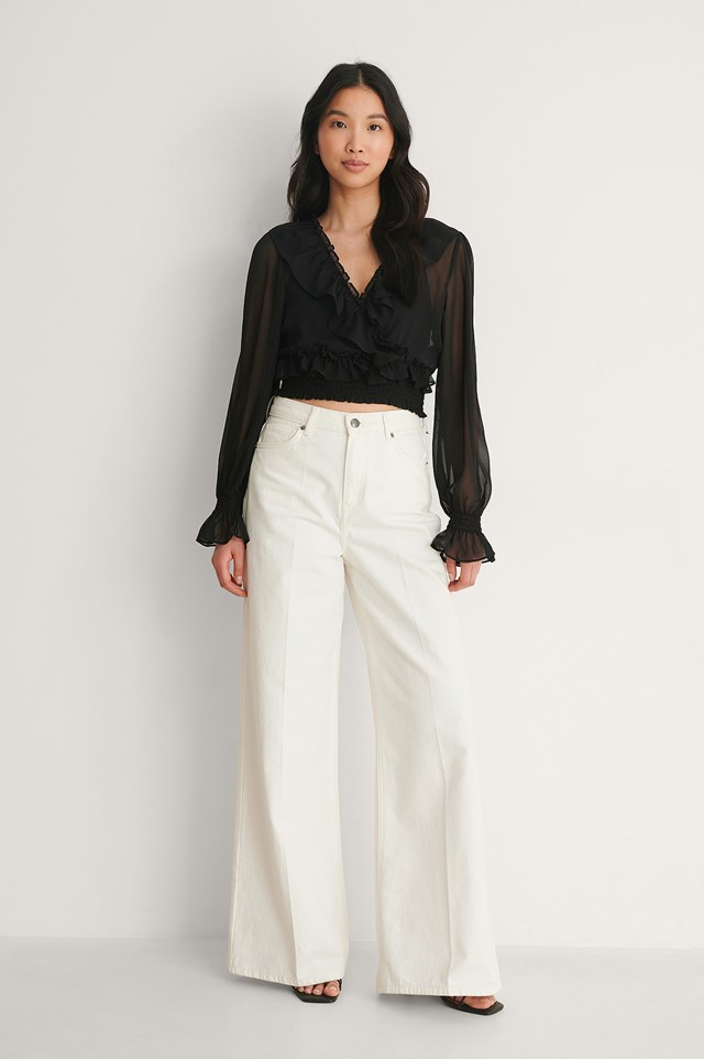 Cropped Flounce LS Blouse Outfit