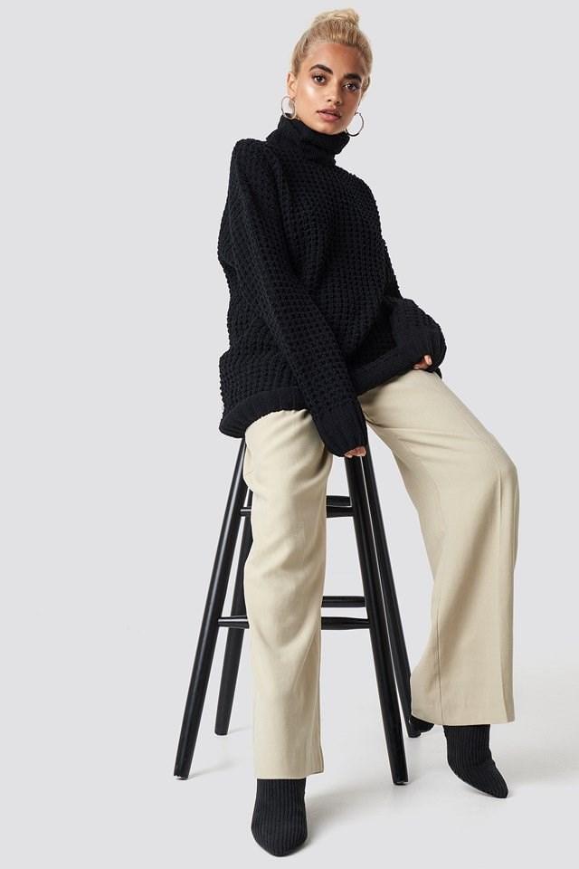 Baggy Black Knit Hoop Outfit