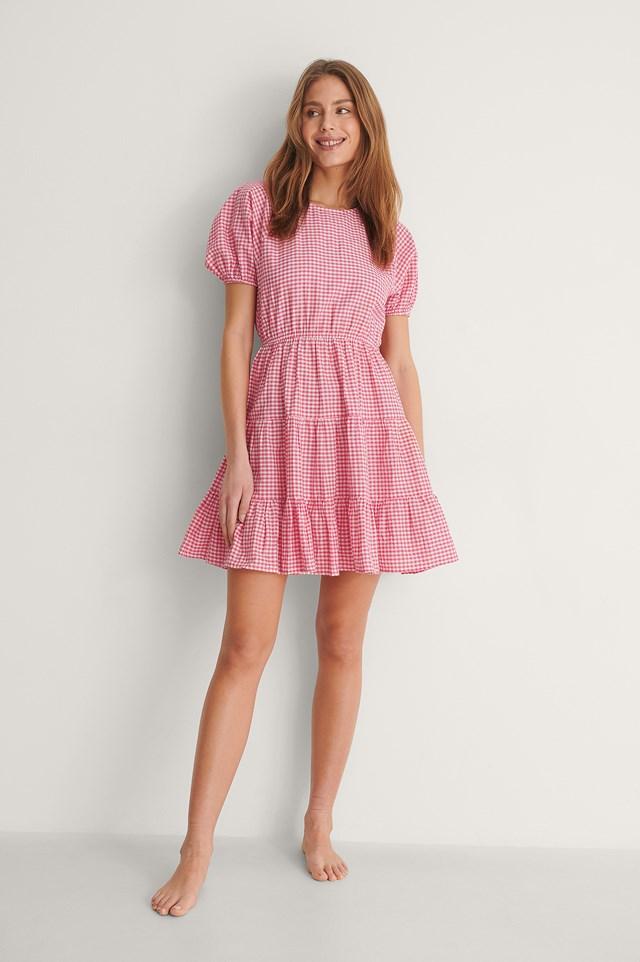 Pink/White Open Back Gingham Dress