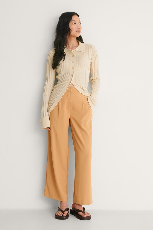 NA-KD Elastic Waist Loose Fit Pants Outfit