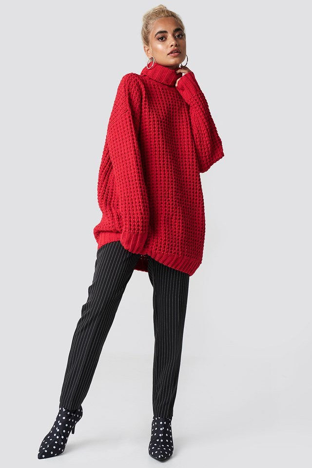 Red Baggy Knit Outfit