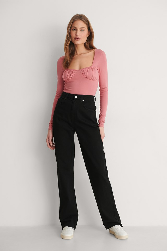 Dusty Dark Pink Rouched Cup Detail Top