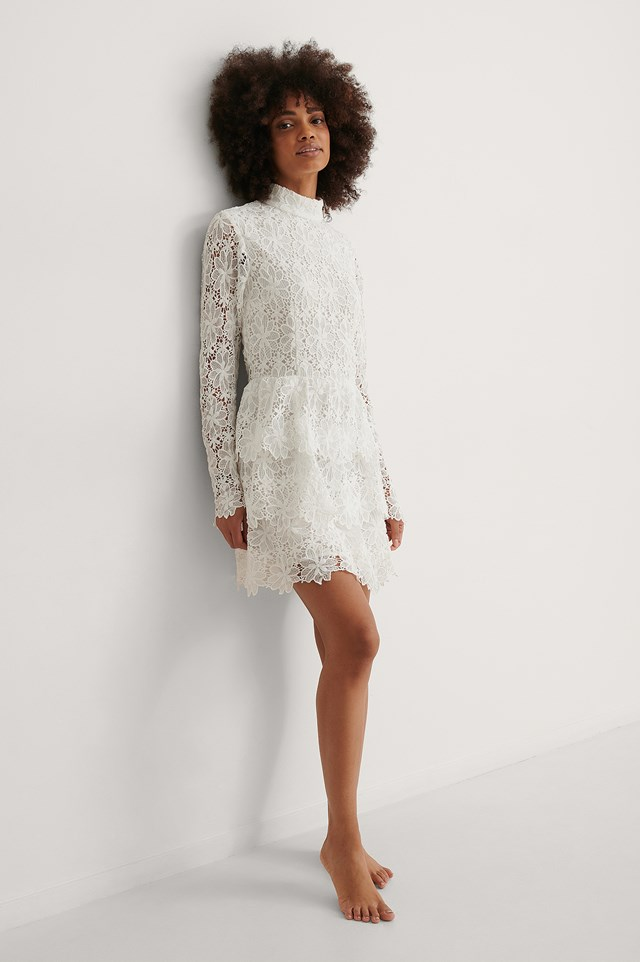 NA-KD Embroidered Flounce Dress Outfit