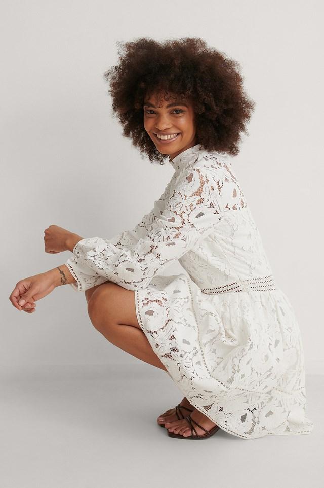 White Long Sleeve Lace Midi Dress