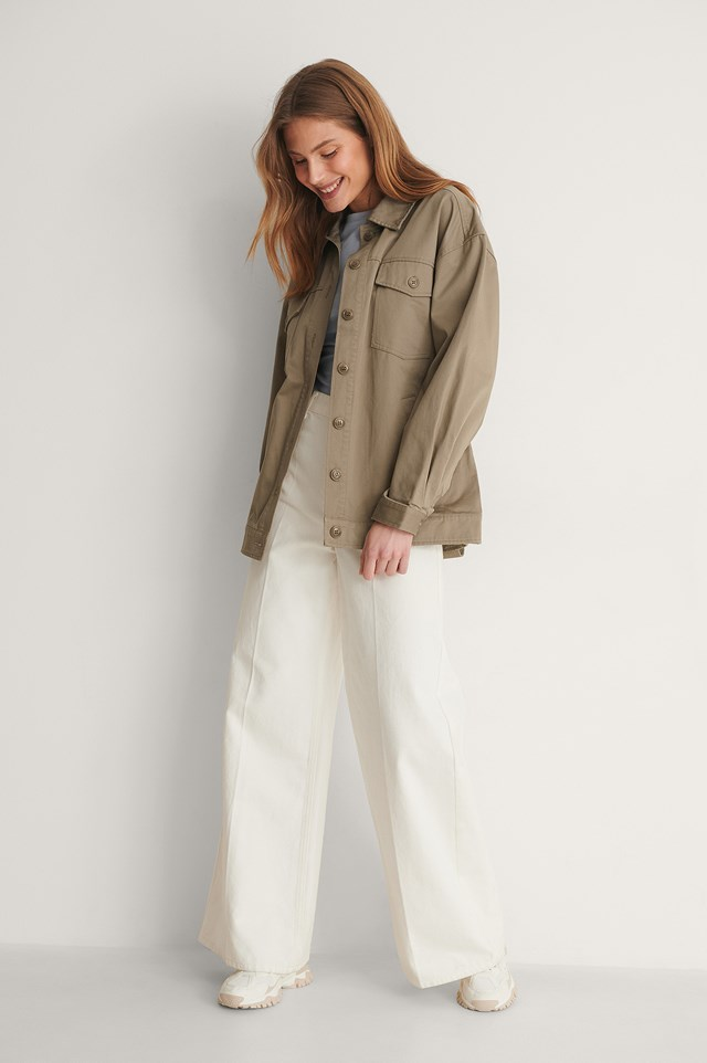 Cotton Belted Cargo Jacket Outfit.