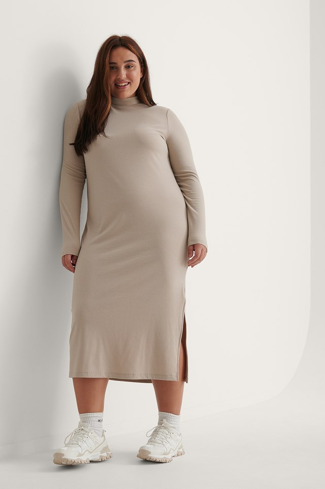 High Neck Ribbed Basic Long Sleeve Dress Outfit.