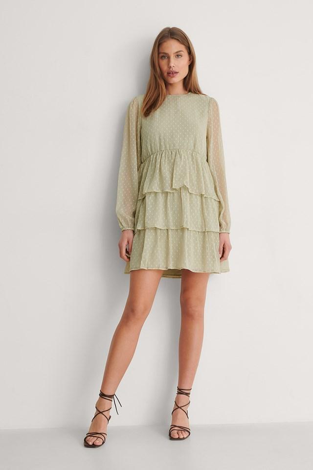 Flounce Dobby Mini Dress Outfit