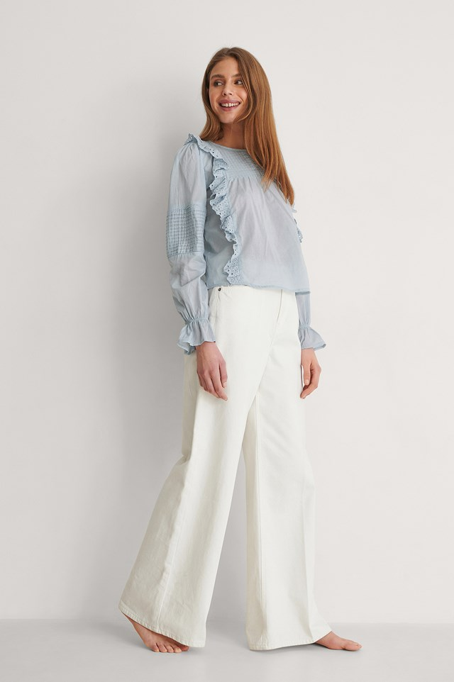 Long Sleeve Frill Cotton Blouse Outfit