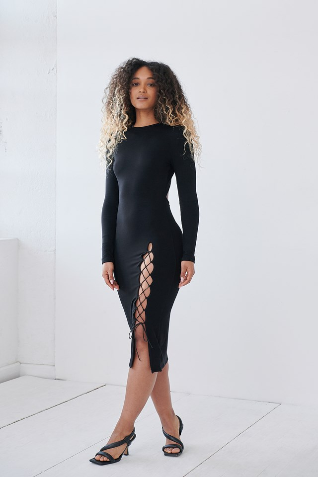 Slit Detail Open Back Dress Outfit