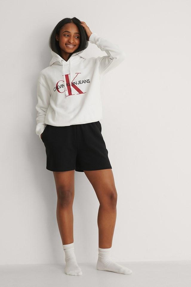 Bright White Oversized Micro Branding Sweater